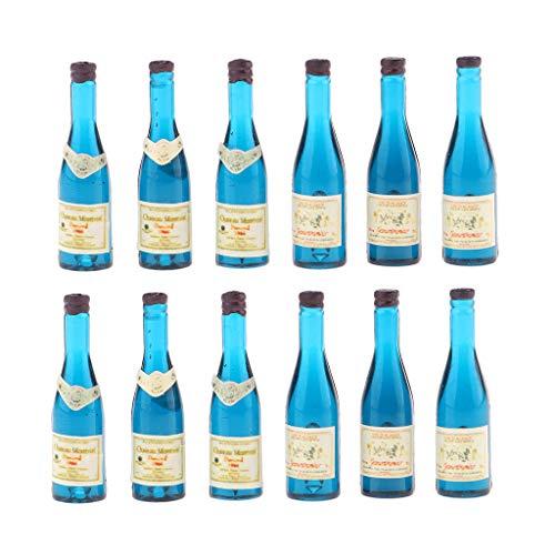 chiwanji 12 Piezas de Botellas de Cerveza en Miniatura de Casa de Muñecas, Suministros de Decoración de Comida para Bares Y Pubs para Fiestas