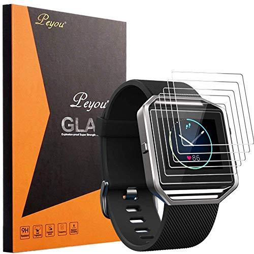 PEMOTech Fitbit Blaze Schutzfolie, [Pack of 6] [extrem dünne Dicke] [9H Festigkeit] [Kristallklar] [Anti-Kartz][Premium-gehärtetes Glas] für Fitbit Blaze Smart Watch 2016 (Pack of 6)