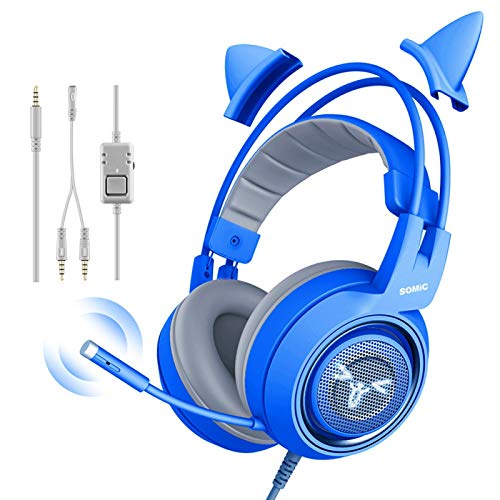 FLOX Gaming-Headset Abnehmbare Cat-Ear-Kopfhörer mit einstellbarem Mikrofon und Kopfband HiFi-Stereo-Rauschunterdrückung Kabelgebundenes Headset Vielseitige Kompatibilität für Tablet-PC-Computer