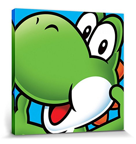 1art1 Super Mario - Yoshi Cuadro, Lienzo Montado sobre Bastidor (40 x 40cm)