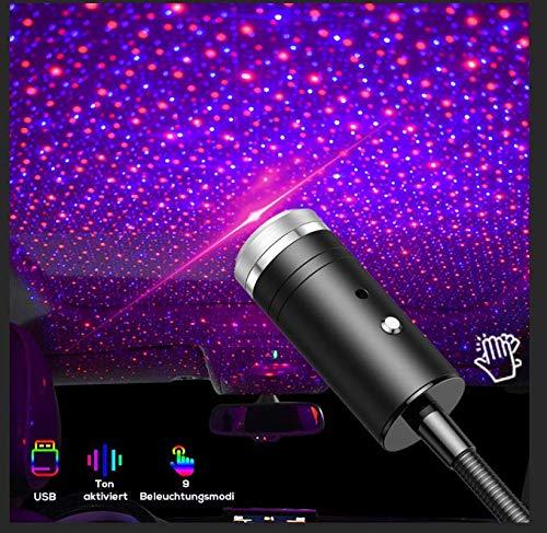 Proiettore da soffitto per auto, Lampada Proiettore Stelle Night Lights- 9 Effetti di Luce, Luci Interna per auto e casa Decorazioni, Plug and Play