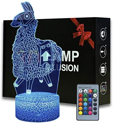 3D Illusion Battle Royale Lama-Nachtlicht, Spielthema Tischlampe mit Fernbedienung Schlafzimmer Dekoration, kreative Schreibtischlampe für Geburtstag FORTNITE - Llama
