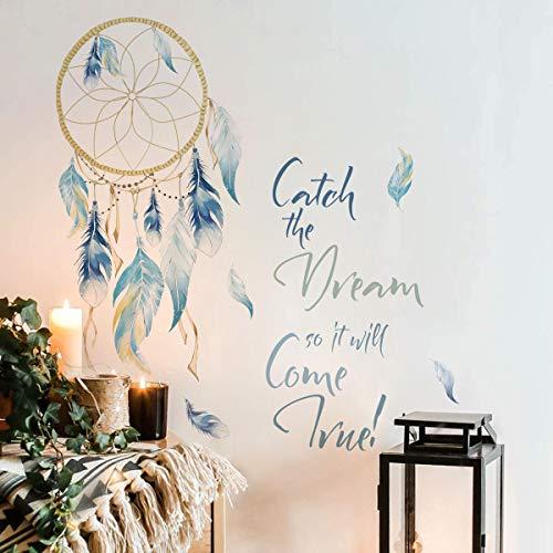Runtoo Pegatinas de Pared Atrapasueños Pluma Stickers Adhesivos Morada Frases Decorativas Dormitorio Salon Habitacion Bebe