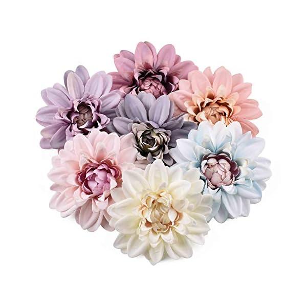 Art Flower Flores artificiales de seda de Dalia blanca con cabeza de rosas rojas para decoración de boda, caja de regalo…