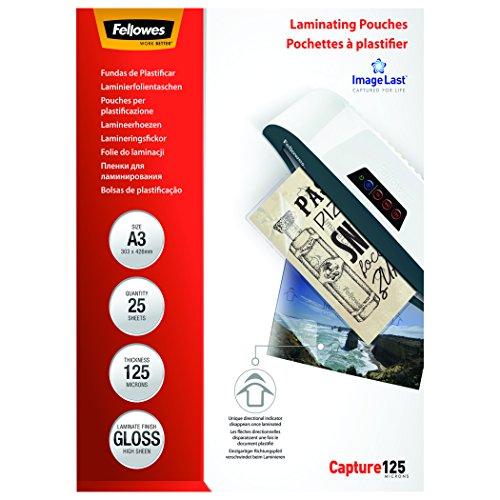 Fellowes ImageLast - Pack de 25 fundas de plastificar, formato A3, 125 micras