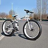 Dapang Bicicleta de montaña Plegable de 24', 7/21/24/27/30 Velocidad, Doble suspensión, 4.0 Pulgadas, llanta Ancha, Bicicleta para Ciclismo sobre Nieve, montañas, Caminos, Playas, etc,White,7speed