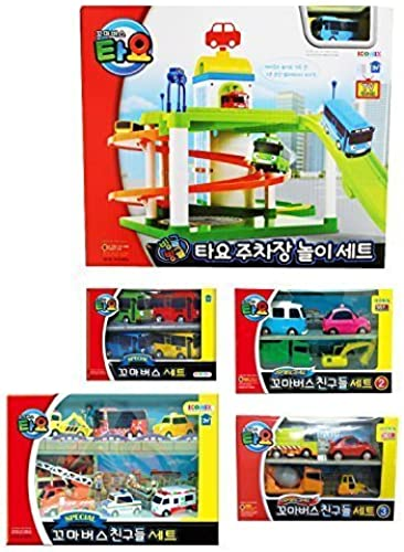 [5Set] Tayo Bus Parking Lot Play Set + Special Mini Tayo 4 Pcs + Friends Special 6 Pcs + Friends Special 4 Pcs No.2 + Friends Special 4 Pcs No.3 by ICONIX