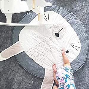 HOUTBY Cute Cartoon Round Carpet Rug Baby Loves Playmat Kid Photograph Background Nursery Kids Room Decoration, Grey Bunny
