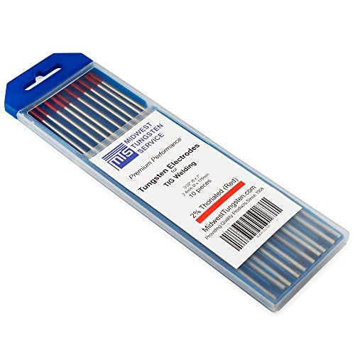 "TIG Welding Tungsten Electrodes 2% Thoriated (Red, WT20) 10-Pack (3/32"")"