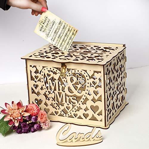 Alnicov Caja de tarjetas de boda, decoración rústica de madera para bodas y decoración de boda de campo, caja de tarjetas con cerradura para recepción de boda, despedida de soltera y aniversario