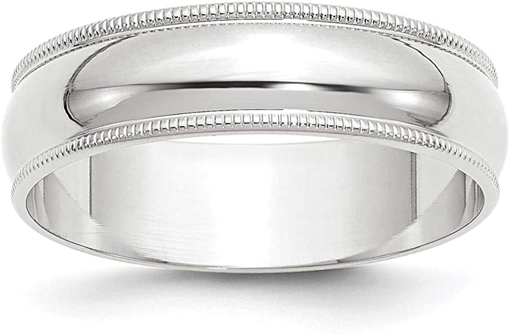 10 White Gold 6mm Milgrain Half Round Wedding Ring Band Size 11 Classic Fashion Jewelry For Women Gifts For Her