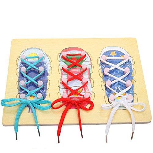 Natureich Holzschuh Puzzle für Kinder Schuhe zum Schleife Lernen / binden Fädelschuhe Holz Schuhe – Motorikspielzeug inkl. Schnürsenkel