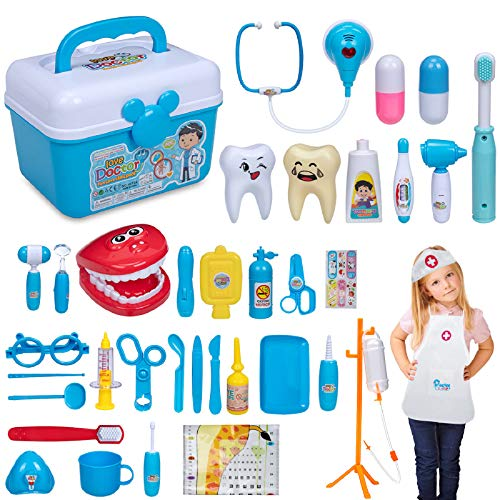 MOMSIV Doctor Kit for Kids - 37 Pieces Pretend Play Toys Dentist Medical Kits Role Play Educational Kids Toys - Kids Doctor Playset for Toddler Boys Girls as Birthday Gift