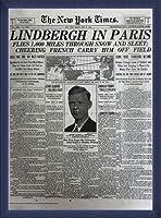 ポスター ピーター リンドバーグ VISIONAIRE(ヴィジョネアー)チャールズ・リンドバーグ NYタイムズ1927年5月22日 額装品 ウッドベーシックフレーム(ブルー)