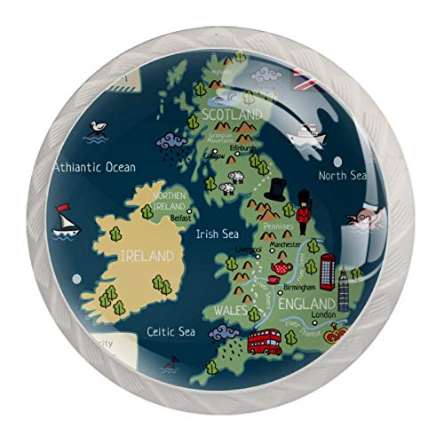 Mapa del Reino Unido | Paquete de 4 pomos para cajones y cajones, pomos redondos modernos para cajones de aparador, pomos de cocina