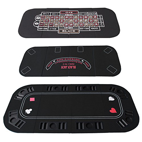 IDS Poker Casino Texas Hold'em Table Top for 3 in 1 (Poker/Blackjack/Roulette) Folding Black Felt Carrying Bag