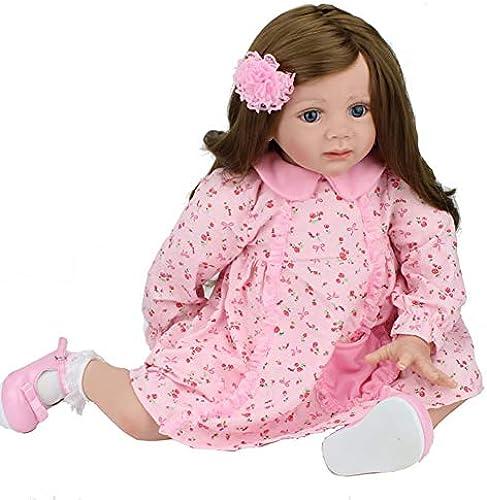 Candyana Baby Doll 24  60cm Lifelike Girl Rosa Rock Rock Long Hair Soft Silicon-Spielzeug für Mutter und Kind Geburtstagsgeschenk