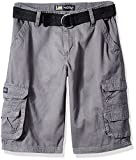 Lee Boys' Big Dungarees Belted Wyoming Cargo Short, Shadow Gray, 16 Husky