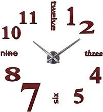 Chllrg Hot New Quartz Clocks Fashion Watches 3D Real Big Wall Clock Rushed Mirror Sticker DIY Modern Style Design Decor Clock,Red,47inch
