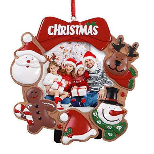 Toyvian Christmas Photo Frame Ornaments,Resin Picture Frame Xmas Tree Party Decorations Family Picture Keepsake Decor 12.5 x 12.5 x 0.2 cm