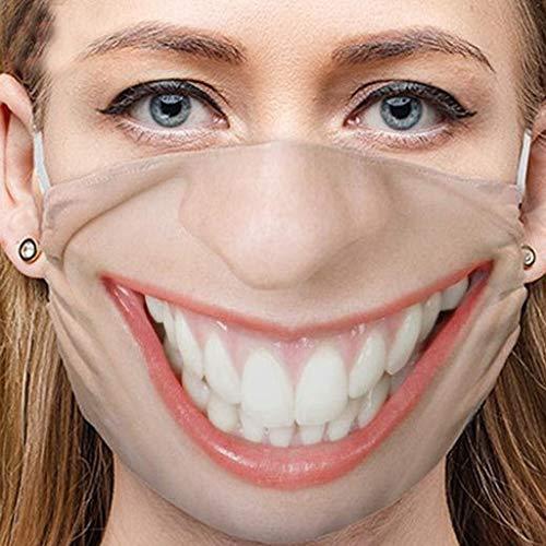 1 Stück Mundschutz mit Motiv lustig, Lippen Mundschutz Waschbarer Atmungsaktive mundbedeckung Stoff Baumwolle wiederverwendbar mundschutz für Unisex (C)
