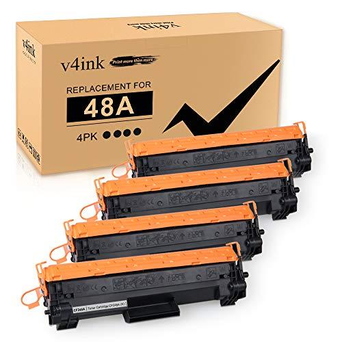 V4INK 4-Pack Compatible 48A Toner Cartridge Replacement for HP 48A CF248A Toner Cartridge Black Ink for use in HP Laserjet Pro M15w M15a M16w M16a MFP M29w M29a M28w M28a Printer