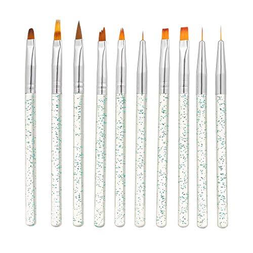 Benkeg 10Pcs / Set - 10Pcs / Set Nail Art Pinceau Peinture Dessin Stylo Constructeur Plat Gradient Ligne UV Gel Acrylique Cristal Conseils Conception Manucure Outils