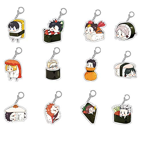 Enhopty 12pcs Anime Figure Keychain Cosplay Key Ring Hanging Pendant for Clothes Backpack