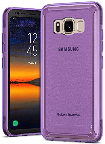 Aeska Galaxy S8 Active Case, Ultra [Slim Thin] Flexible TPU Gel Rubber Soft Skin Silicone Protective Case Cover for Samsung Galaxy S8 Active (Purple)