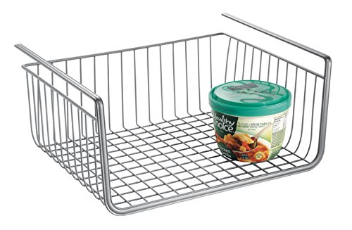 Price comparison product image InterDesign York Lyra Storage Baskets,  Compact Under Shelf Basket for Cans,  Spices and More,  Sturdy Metal,  Silver
