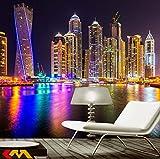 Fototapete Dubai Nachtstadt Moderne Wanddeko Design Tapete Wandtapete Wand Dekoratio TV Hintergrundwand 300x210 cm