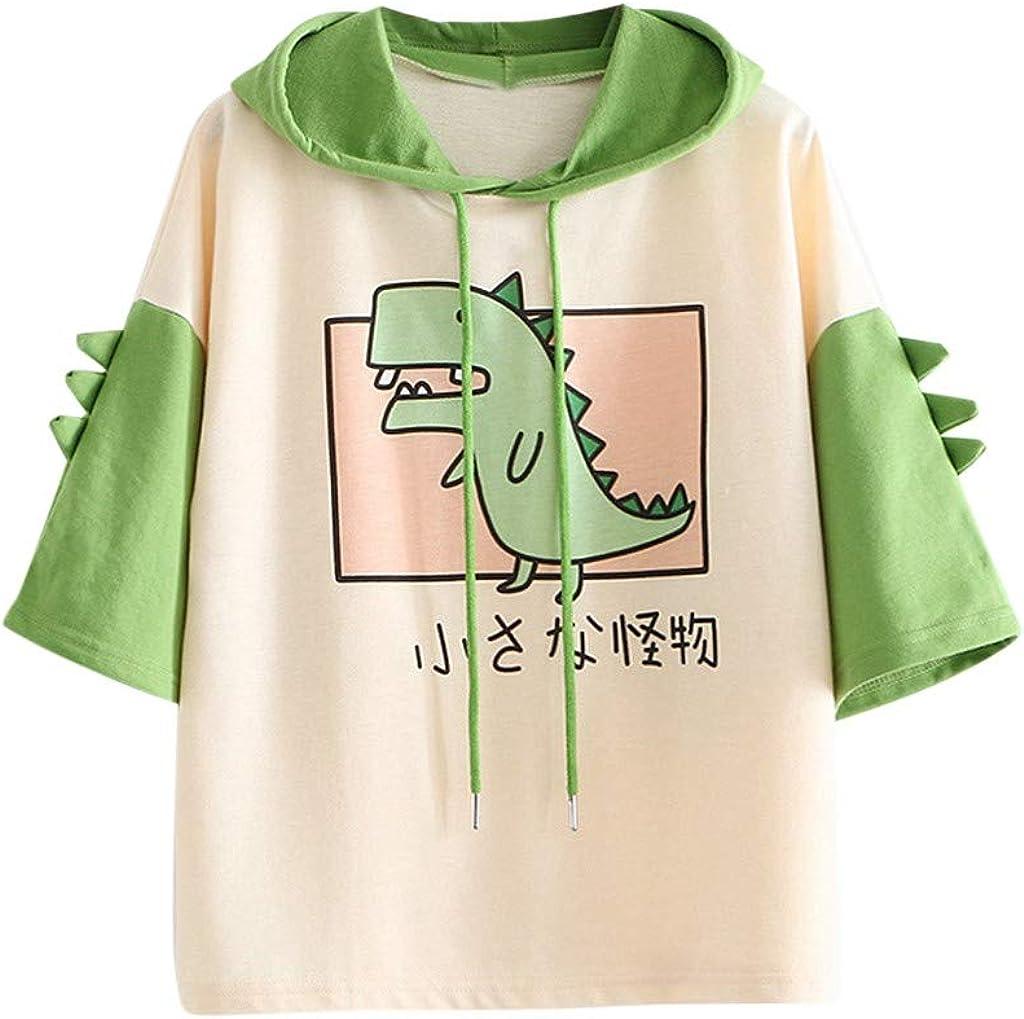 Kanzd Cute Dinosaur Pullover for Teen Girls Women Fashion Casual 3/4 Sleeve Cartoon Shirts Splicing Sweatshirt Hoodie