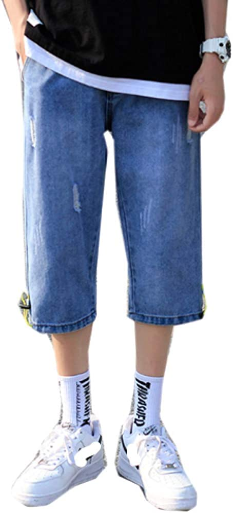 brandless Men's Jeans Loose Straight Solid Color Korean Version Washed Hole Feet Shorts Blue