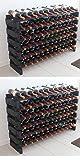 Black, Stackable Modular Wine Rack Storage Stand Display Shelves, Wobble-Free, Pine Wood (6 Rows, 72 Bottle Capacity)