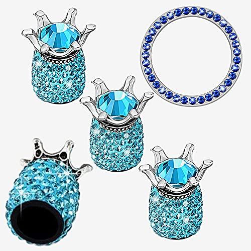 GTIWUNG 4 Piezas Tapones Valvula Coche, Tapa Valvula Bicicleta,Tapas de Válvula Brillante Cubiertas de Casquillos de Neumático de Cochede Diamante Artificial de Cristal, Azul Claro