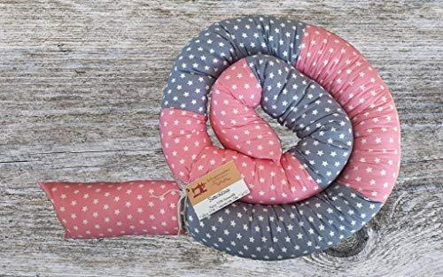 Bettschlange, Rosa/Grau mit Sternen, 180cm bis 300cm wählbar, Handmade, ÖKO-TEX® Standard 100 zertifizierte Materialien, 100% Made in Germany