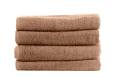 Juego de 4 toallas de alta calidad, 100 % algodón, 500 g/m², suaves y esponjosas, no se decoloran, 100 x 50 cm, color beige