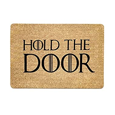 Pinji Funny Doormat Hold The Door Non-slip Rubber Entrance Mat Floor Mat Rug Indoor/Outdoor/Front Door/Bathroom Mats Personalized 23.6(L) x 15.7(W)inch 06