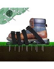 Grasbeluchter gazonventilator, 4 verstelbare riemen, gazonnagelschoenen, 30 cm lange zolen, 5,5 cm lange nagels, universele maat voor het gras, verticuteren van alle schoenen of laarzen past