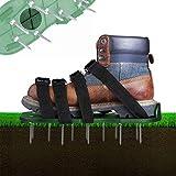 Zapatos aireadores de césped, 4 correas ajustables, suela de 30 cm de largo, clavos de 5,5 cm de largo, tamaño universal para escarificar el césped, se adapta a todos los zapatos o botas (verde)
