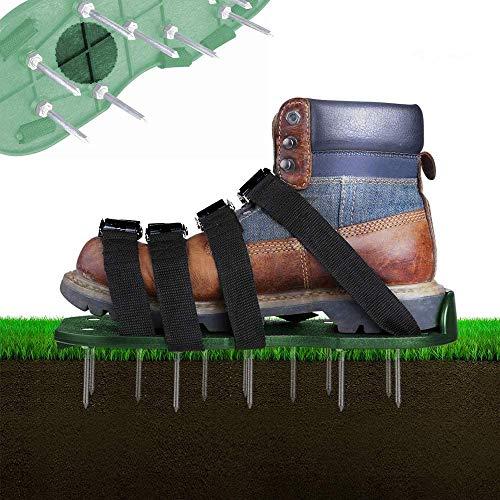 Rasenbelüfter Rasenlüfter Schuhe, 4 Verstellbare Riemen Rasen Nagelschuhe, 30cm Lange Sohlen, 5,5cm Lange Nägel, Universalgröße für das Rasen Vertikutieren die alle Schuhe oder Stiefel Passt (Grün)