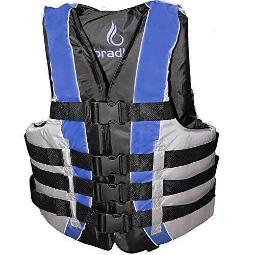 Bradley Fully Enclosed Deluxe 4-Buckle Adult Life Jacket Vest (Blue)