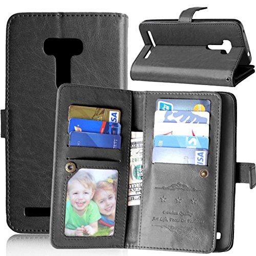 FUBAODA für Asus ZenFone Selfie ZD551KL Tasche Schwarz + Kostenlos Syncwire Ladekabel, Leder Hülle, Pretty, Kartenfächer Ständerfunktion Hülle für Asus ZenFone Selfie ZD551KL (5.5inch) (schwarz)
