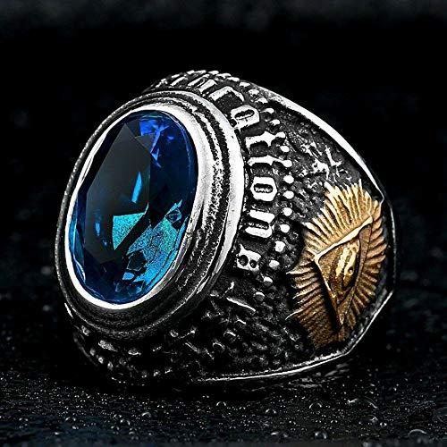 Сharm - Mens Stainless Steel Gold Color Ram Freemason Masonic Sapphire Ring Size 11- Ideal Gift for Birthday Valentine Christmas