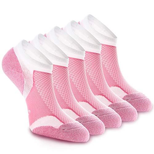 WEEKEND PENINSULA 5 Pares Calcetines Running Deportivos Hombres Mujer, Calcetines Cortos Tobilleros Hombre Mujer Invisibles Bajos Antiampollas (M, Rosa2)