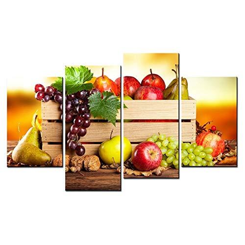 QWERGLL Tela a 4 Pannelli Quadro su Tela Dipinti su Quadri con Frutta Moderna Immagini su Tela Stampa HD