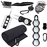 RE GOODS Golf Accessories Kit | Microfiber Towel, Ball Holder, Golf Club Brush w/Groove Cleaner, Divot Repair Tool, Ball Stencil, Tee Holder, Putting Markers | Golfer Gift Set for Men and Women