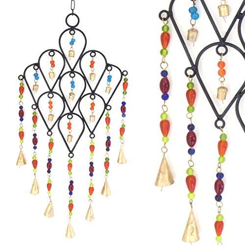 Purity Style Indisches Windspiel aus Metall mit farbigen Perlen und Glöckchen für drinnen und draußen, Gartenwindspiel