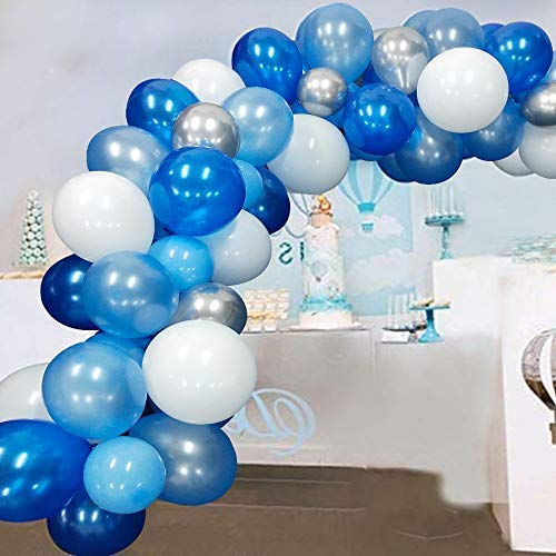 Blue Balloons Kits Blue and Silver White Balloons Blue Balloon Garland Arch For Boy Baby Shower Arch Garland Decorations Wedding Balloons Decoration 117Pcs