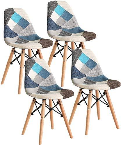 LOVEMYHOUSE Patchwork Eiffel - Juego de 4 sillas de Comedor con Asiento Suave y Respaldo Patas de Haya para el hogar la Cocina la Oficina (Azul)